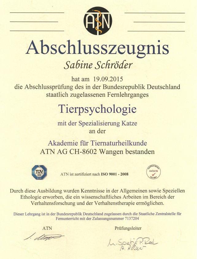 Katzenpsychologie-Wedel: ATN Zertifikat