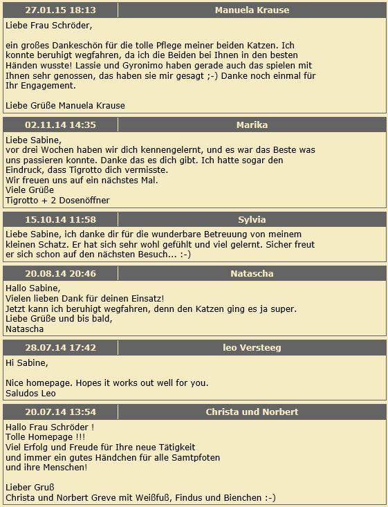 Katzenpsychologie-Wedel: Gästebuch 1