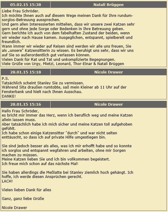 Katzenpsychologie-Wedel: Gästebuch 2